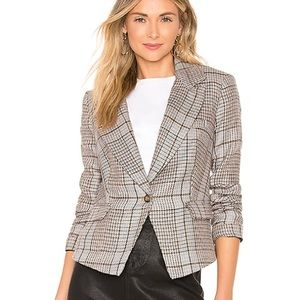 Free People 100% linen chess plaid blazer